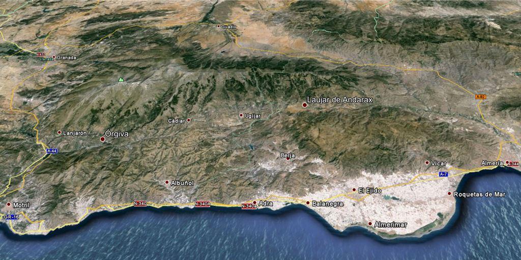 Municipios. Plano La Alpujarra 3D. Fuente: Google Map
